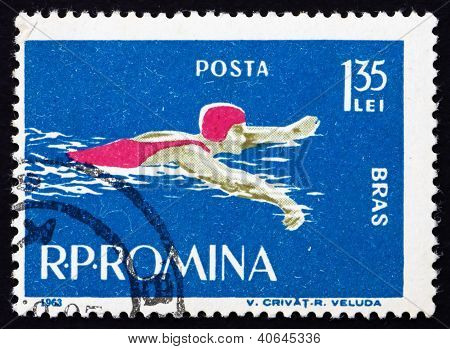 Postage stamp Romania 1963 Swimming, Breaststroke Style