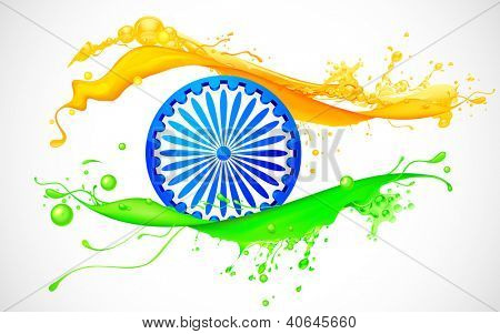 illustration of Ashoka Chakra in splashy Indian flag background