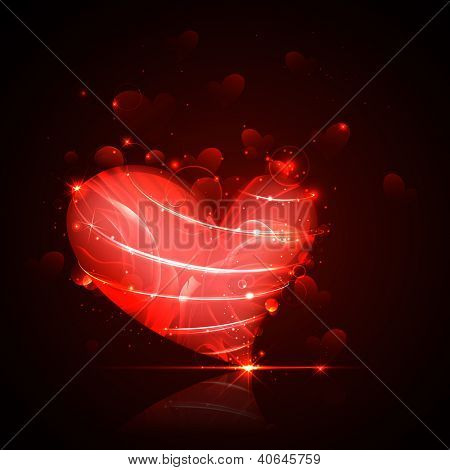 illustration of shiny Valentine heart on abstract background