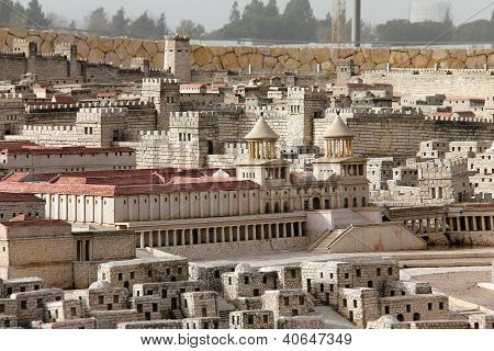 Model Of Ancient Jerusalem. Hasmonean Palace.