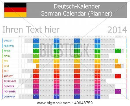 2014 German Planner Calendar With Horizontal Months