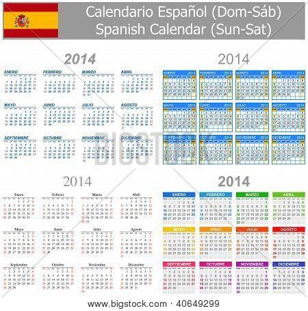 2014 Spanish Mix Calendar Sun-sat