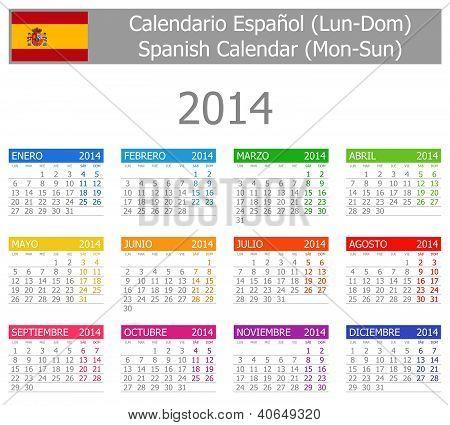 2014 Spanish Type-1 Calendar Mon-sun