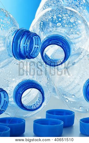 Composition With Empty Polycarbonate Plastic Bottles Of Mineral