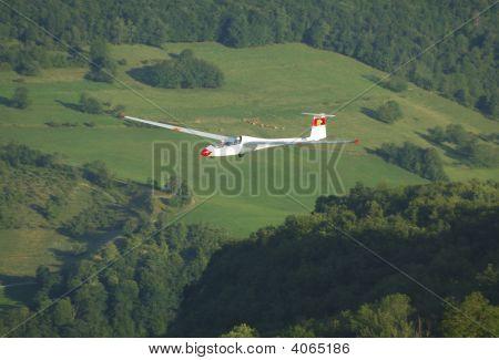 Glider Janus Flying Over Challes Les Eaux