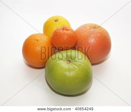 Ripe Green And Yellow Oranges, Mandarin And Lemon.
