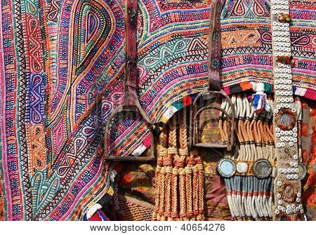 Closeup Of Camel Decoration With Stirrups,thar Desert,rajasthan,india
