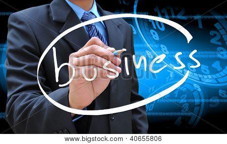 Empresario mano escritura empresarial
