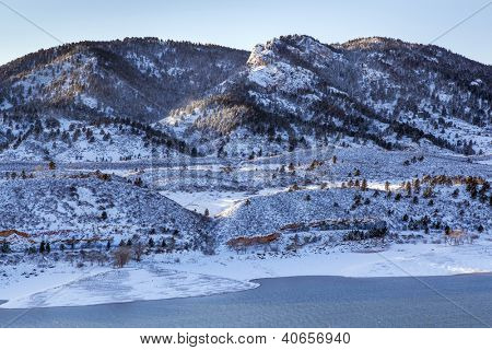 Arthur's Rock in Lory State Park and Horsetooth Reservoir near Fort Collins, Colorado, winter scenery