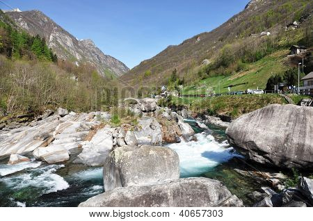 Mountain river in Verzasca valley, Italian part of Switzerland
