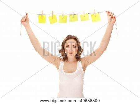 Beautiful Woman Holding A Cord With Sticky