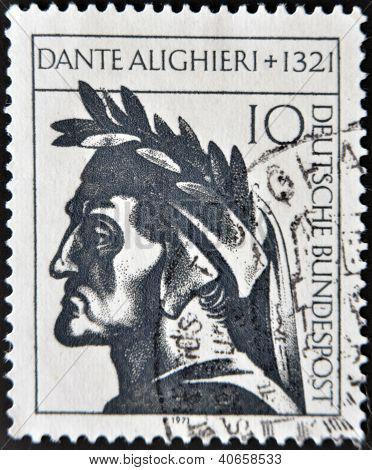 stamp printed in Germany showing Dante Alighieri