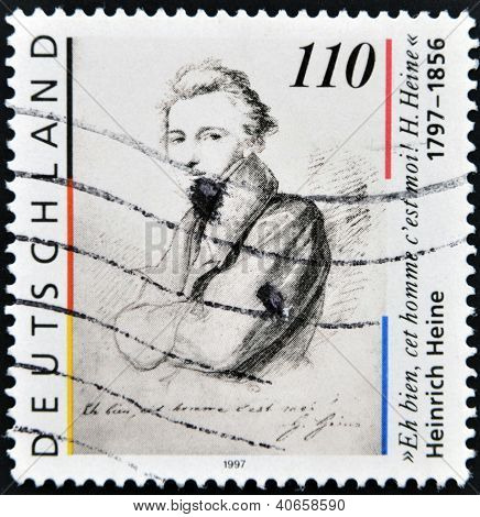 A stamp printed in Germany shows Heinrich Heine