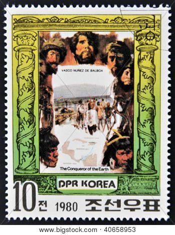A stamp printed in North Korea shows Vasco Nunez da Balboa series The Conqueror of Eath circa 1980