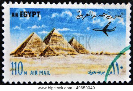 EGYPT - CIRCA 1972: stamp printed in Egypt shows Pyramids at Giza circa 1972.