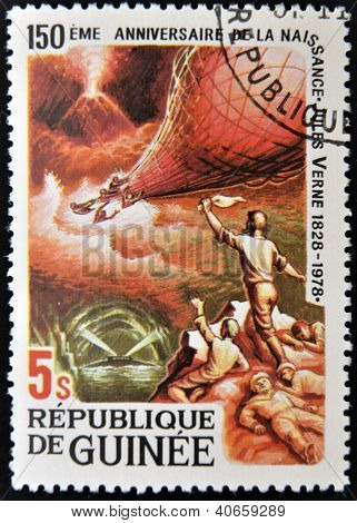 GUINEA - CIRCA 1979: A stamp printed in Guinea shows Jules Verne story Mysterious Island circa 1979
