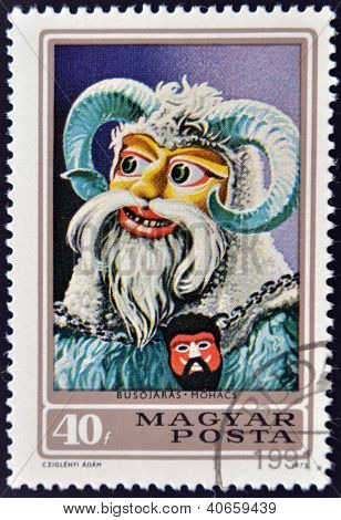 HUNGARY - CIRCA 1973: A stamp printed in Hungary shows Busho masks circa 1973.