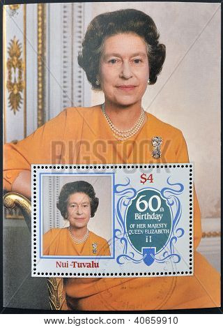a stamp printed in Nui - Tuvalu shows Her Majesty the Queen Elizabeth II sixtieth birthday