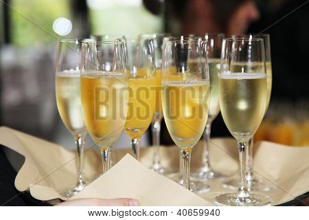 Flutes Of Chilled White Champagne