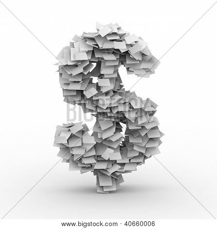 Dollar Sign, Stacked From Paper Sheets