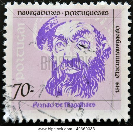 PORTUGAL - CIRCA 1993: A stamp printed in Portugal shows Ferdinand Magellan circa 1993