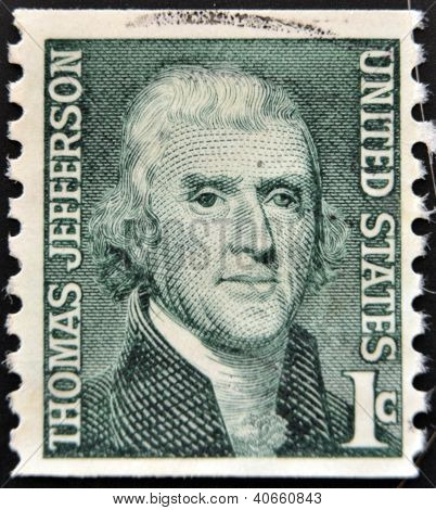UNITED STATES OF AMERICA - CIRCA 1930: A stamp printed in USA shows image portrait Thomas Jefferson