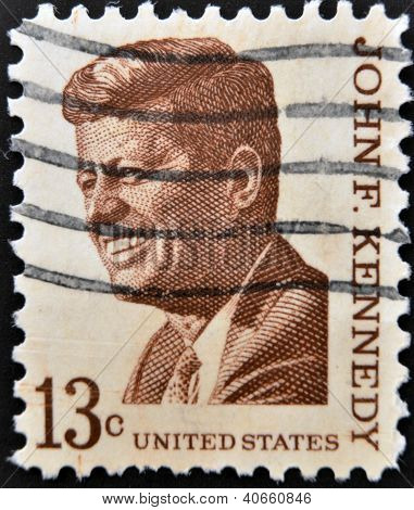 a stamp printed in USA shows John F. Kennedy 35th President of USA circa 1967