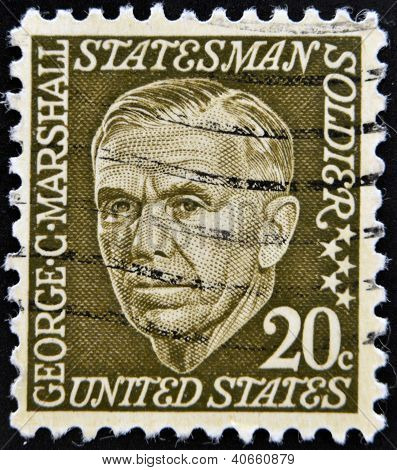 UNITED STATES OF AMERICA - CIRCA 1967: A stamp printed in USA shows image of George Marshall