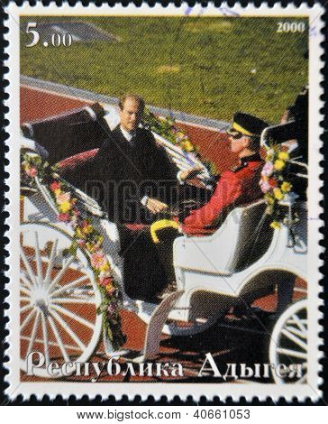 ABKHAZIA - CIRCA 2000 : Stamp printed in Abkhazia shows Pricipe Edward Earl of Wessex in a chariot c