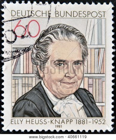 stamp printed in Germany, shows Elly Heuss-Knapp (1881-1951), founded Elly Heuss-Knapp Foundation