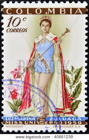 COLOMBIA - CIRCA 1959: A stamp printed in Colombia shows Luz Marina Zuluaga Miss Universe circa 1959