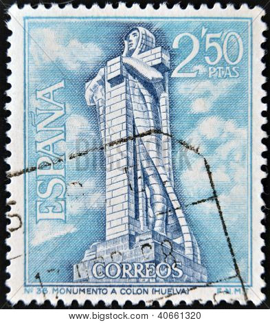 SPAIN - CIRCA 1967: A stamp printed in Spain, shows monument to Christopher Columbus, Huelva, circa