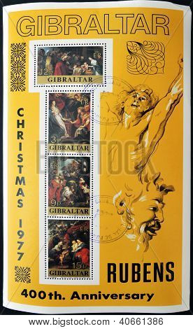 GIBRALTAR - CIRCA 1997: A stamp printed in Gibraltar,shows to 400 commemoration of the birth of Rube