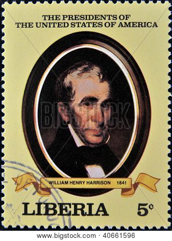 A stamp printed in Liberia shows President Willian Henry Harrison circa 1982