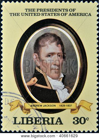 A stamp printed in Liberia shows President Andrew Jackson circa 1982
