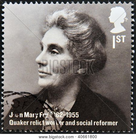A stamp printed in Great Britain shows Joan Mary Fry quaker relief worker and social reformer