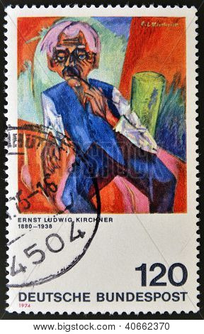 GERMANY - CIRCA 1974: A stamp printed in Germany shows painting by Ernst Ludwig Kirchner circa 1974
