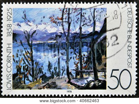 "A stamp printed in Germany shows a picture of the ""Easter at Walchensee"" by Lovis Corinth"