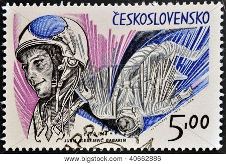 a stamp printed in Czechoslovakia shows the first astronaut Jury A. Gagarin