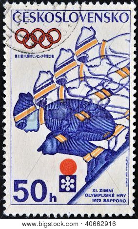 A stamp printed in Czechoslovakia shows a downhill skier player to mark the 1972 Winter Olympics