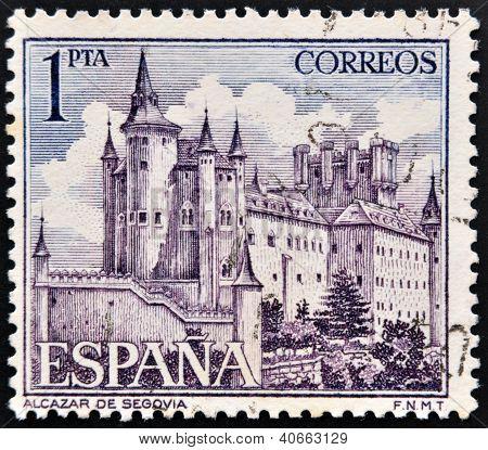 SPAIN - CIRCA 1964: a stamp printed in the Spain shows Alcazar of Segovia Spain circa 1964