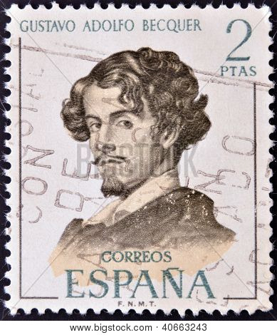 SPAIN - CIRCA 1970: A stamp printed in Spain shows Gustavo Adolfo Becquer circa 1970