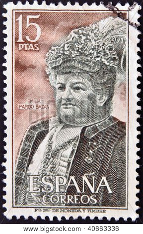 SPAIN - CIRCA 1972: A stamp printed in Spain shows Emilia Pardo Bazan circa 1972