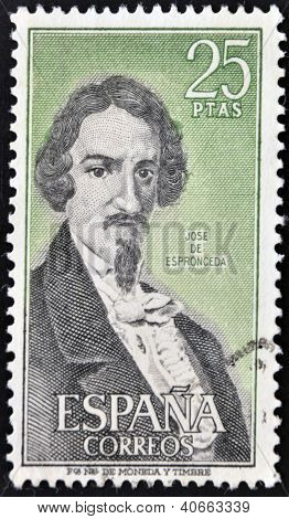 A stamp printed in Spain shows Jose de Espronceda was a famous Romantic Spanish poet circa 1980