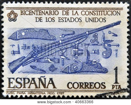 A stamp printed in Spain commemorating the bicentennial of the United States Constitution