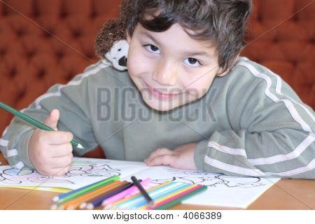 Boys With A Color For Drawing