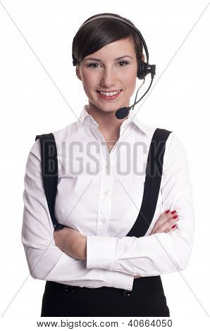 Portrait of a smiling call center operator in headset isolated on white