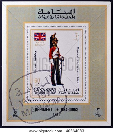 MANAMA - CIRCA 1970: A stamp printed in Manama shows Regiment of Dragoons 1812 circa 1970