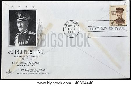 UNITED STATES OF AMERICA - CIRCA 1961: stamp printed in USA shows John J. Pershing general officer i