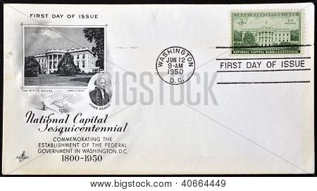 USA - CIRCA 1950: A Stamp printed in USA conmemorating the establishment of the federal government i